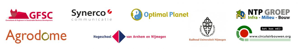logo's van partners: GFSC, Synerco, Optimal Planet, NTP groep, Agrodome, HAN, Radboud, Circulairbouwen