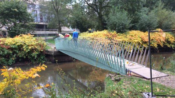 Biobased brug op het terrein van de TU Eindhoven (TU/e)