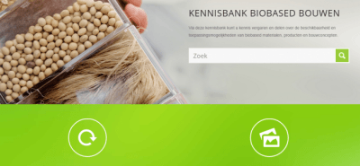 Screenshot van Kennisbank biobased bouwen